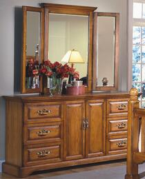 "1133-050-1133-065 Honey Creek 64"" Dresser with Mirror, Six Drawers, Two Doors, Detailed Molding, and Decorative Hardware, in Caramel"