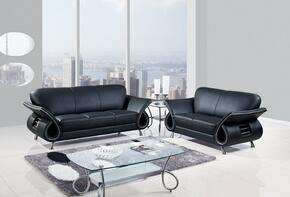 U559-BL-SL 2 Piece Leather Livingroom Set in Black, Sofa + Loveseat