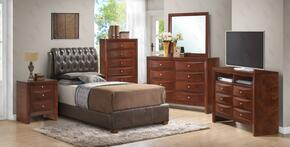 G1550CTBUPS 6 PC Bedroom Set with Twin Size Bed + Dresser + Mirror + Chest + Nightstand + Media Chest in Cherry Finish