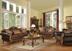 Dorothea Collection 51590SLCT 5 PC Living Room Set with Sofa + Loveseat + Chair + Coffee Table + End Table in Cherry Finish