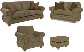 Laramie 5081SLCO/8491-26/5763-85 4-Piece Living Room Set with Sofa, Loveseat, Chair and Ottoman in 8491-26 Green with 5763-85 Pillows