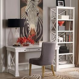 Johansson Collection 801381SET 3 PC Desk Set with Writing Desk + Chair + Bookcase in Antique White Finish