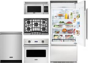 "5-Piece Stainless Steel Kitchen Package with VCBB5363ERSS 36"" Bottom Freezer Refrigerator, VGSU5305BSS 30"" Gas Cooktop, VESO1302SS 30"" Electric Single Wall Oven, VMOR205SS 30"" Over the Range Microwave, and VDW302SS 24"" Dishwasher"