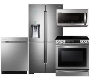 "Chef Collection 4-Piece Stainless Steel Kitchen Set with RF34H9960S4 36"" Freestanding French Door Refrigerator, NE58H9970WS 31"" Slide-In Induction Range, DW80H9970US Fully Integrated Dishwasher and ME21H9900AS Over the Range Microwave"