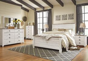 Willowton Queen Bedroom Set with Panel Bed, Dresser, Mirror, 2 Nightstands and Chest in Whitewashed Color