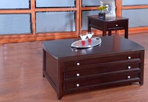 30700CE Ventura 2 Piece Living Room Table Set with Cocktail Table and End Table, in Black Cherry