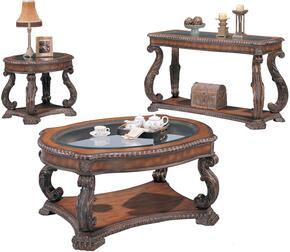 Doyle 3892CES 3 PC Living Room Table Set with Coffee Table + End Table + Sofa Table in Brown Finish