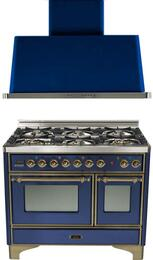 "2-Piece Midnight Blue Kitchen Package with UMD1006DMPBLY 40"" Freestanding Dual Fuel Range (Oiled Bronze Trim, 6 Burners, Timer) and UAM100BL 40"" Wall Mount Range Hood"