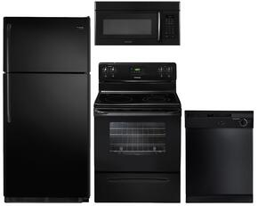 "4-Piece Black Kitchen Package wtih FFTR1821QB 30"" Top Freezer Refrigerator, FFEF3013LB 30"" Freestanding Electric Range, FBD2400KB 24"" Full Console Dishwasher and FFMV162LB 30"" Over the Range Microwave"