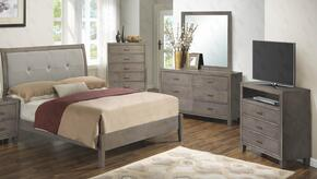 G1205ATBDMTV 4 Piece Set including Twin Bed, Dresser, Mirror and Media Chest in Grey
