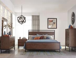 Affinity 710KPBDMN 4-Piece Bedroom Set with King Panel Bed, Dresser, Mirror and Nightstand in Mango Color