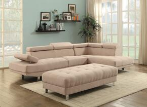 Milan Collection G443SCO 2 PC Living Room Set with Sectional Sofa + Ottoman in Tan Color