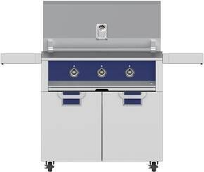 "Aspire Series 36"" Natural Gas Grill with ECD36BU Tower Grill Cart with Two Doors, in Prince Blue"
