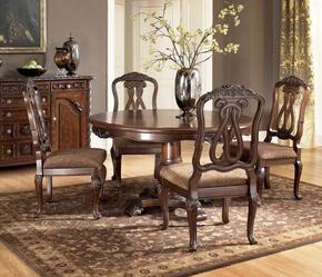 D5530350 North Shore Side Chair + Round Pedestal Table, Decorative Pilasters and Furniture Grade Resin in Opulent Brown Finish