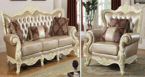 Madrid 674-S-C 2 Piece Living Room Set with Sofa and Chair in Rich Pearl White
