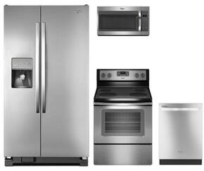 "4-Piece Kitchen Package with WRS325FDAM 36"" Side by Side Refrigerator, WFE515S0ES 30"" Electric Freestanding Range, WMH31017FS 30"" Over The Range Microwave oven and WDT720PADM 24"" Built In Dishwasher in Stainless Steel"