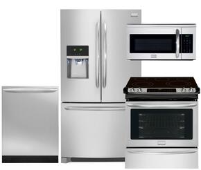 "Gallery 4-Piece Smudge-Proof Stainless Steel Kitchen Package with FGHF2366PF 36"" Freestanding French-Door Refrigerator, FGES3065PF 30"" Slide-In Electric Range, FGID2466QF Fully Integrated Dishwasher and FGMV175QF Over-the-Range Microwave"
