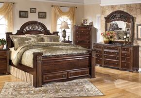 Gabriela King Bedroom Set with Poster Storage Bed, Dresser and Mirror in Dark Reddish Brown