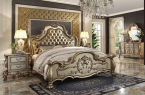 Dresden Collection 23160QDM2N 5 PC Bedroom Set with Queen Size  Bed + Dresser + Mirror + 2 Nightstands in Gold Patina Finish