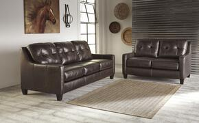 Regina Collection MI-2820SL-MAHO 2-Piece Living Room Set with Sofa and Loveseat in Mahogany