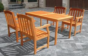 V98SET27 Outdoor Wood Balthazar Rectangular Table and 4 V211 Outdoor Wood Ward Series Armchairs