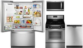 "4 Piece Kitchen package With WFG515S0ES 30"" Gas Range, WMH53520CS Over The Range Microwave, WRF767SDEM 36"" French Door Refrigerator and WDF520PADM 24"" Built In Dishwasher In Stainless Steel"
