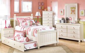 Burton Collection Full Bedroom Set with Poster Trundle Bed, Dresser and Mirror in Cream