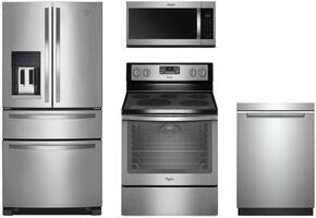 "4-Piece Stainless Steel Kitchen Package with WRX735SDBM 36"" French Door Refrigerator, WFE540H0ES 30"" Freestanding Electric Range, WMH32519HZ 30"" Over the Range Microwave, and WDTA50SAHZ 24"" Fully Integrated Dishwasher"