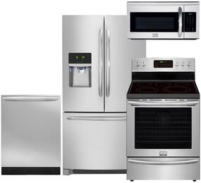 "Gallery 4-Piece Smudge Proof Stainless Steel Kitchen Set with FGHF2366PF 36"" French Door Refrigerator, FGEF3058RF 30"" Freestanding Electric Range, FGID2466QF 24"" Fully Integrated Dishwasher and FGMV175QF 30"" Over-the-Range Microwave"