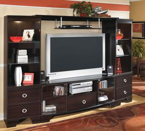 """Pinella W403KIT Entertainment Wall Unit with 60"""" Wide T.V. Credenza, 2 Pier Cabinets and Bridge in Merlot Finish"""