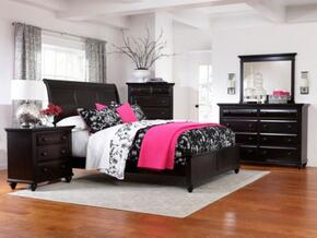 Farnsworth Collection 4 Piece Bedroom Set With Queen Size Sleigh Bed + 1 Nightstands + Dresser + Mirror: Black