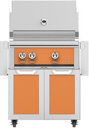 """30"""" Liquid Propane Grill with GCD30OR Tower Grill Cart with Two Doors, in Citra Orange"""
