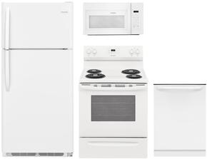 "4-Piece White Kitchen Package with FFTR1821TW 30"" Top Freezer Refrigerator, FGGF3036TW 30"" Gas Range, FGID2466QW 24"" Fully Integrated Dishwasher and FGMV176NTW 30"" Over-the-Range Microwave"