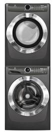 "Titanium Front Load Laundry Pair with EFLS517STT 27"" Washer, EFMG517STT 27"" Gas Dryer and STACKIT7X Stacking Kit"