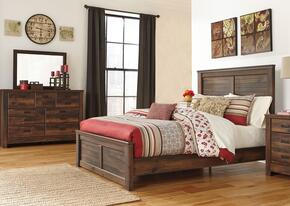 Bowers Collection King Bedroom Set with Panel Bed, Dresser and Mirror in Dark Brown