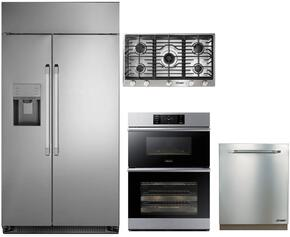 "4-Piece Stainless Steel Kitchen Package with DYF42SBIWS 42"" Side by Side Refrigerator, RNCT365GSNG 36"" Natural Gas Cooktop, DOC30M977DS 30"" Combi Wall Oven, and RDW24S 24"" Fully Integrated Dishwasher"