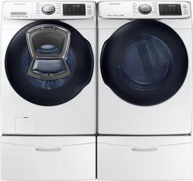 "White Front Load Laundry Pair with WF45K6500AW 27"" Washer, DV45K6500EW 27"" Electric Dryer and 2 WE357A0W Pedestals"
