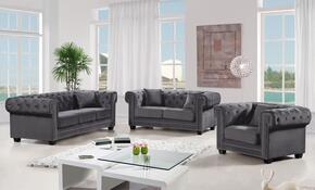 Bowery Collection 739495 3-Piece Living Room Sets with Stationary Sofa, Loveseat and Living Room Chair in Grey