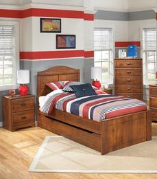 Barchan Full Bedroom Set with Panel Bed with Trundle and 2 Nightstands in Warm Brown