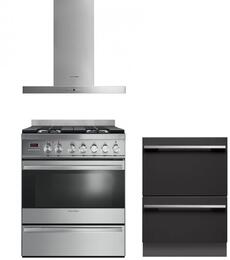 "3 Piece Kitchen Package With OR30SDPWGX1 30"" Dual Fuel Freestanding Range, DD24DI7 24"" Dishwasher and HC30DTX1 30"" Range Hood"