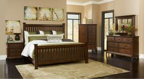 Estes Park 4364KPOSTERNDM 4-Piece Bedroom Set with King Poster Bed, Nightstand, Dresser and Mirror in Artisan Oak Finish