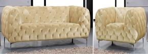 Mercer Collection 646-BE-S-C 2 Piece Living Room Set with Sofa and Chair in Beige