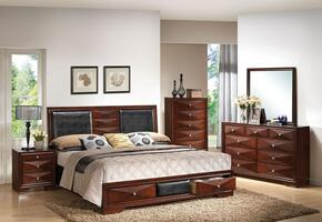 21907EK4PCSET Windsor E. King Size Bed + Dresser + Mirror + Nightstand with Black PU Upholstery and Two Underbed Storage in Merlot Finish