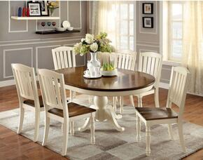 Harrisburg Collection CM3216OT6SC 7-Piece Dining Room Set with Oval Table and 6 Side Chairs in Vintage White/Dark Oak