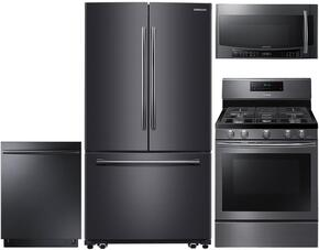 "4-Piece Black Stainless Steel Kitchen Package with RF261BEAESG 36"" French Door Refrigerator, NX58J7750SG 30"" Gas Range, DW80K7050UG 24"" Fully Integrated Dishwasher and MC17J8000CG 30"" Over-the-Range Microwave"