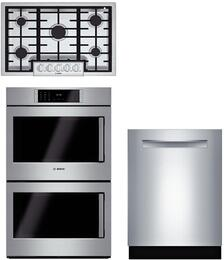 """3-Piece Stainless Steel Kitchen Package with NGMP655UC 36"""" Natural Gas Cooktop, HBLP651LUC 30"""" Double Wall Oven, and SHP88PW55N 24"""" Fully Integrated Dishwasher"""