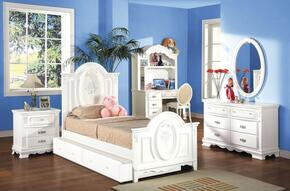 01680TBDMDCTN Flora 7 PC Set Twin Size Panel Bed + Dresser + Mirror + Desk + Chair + Trundle + Nightstand in White Finish