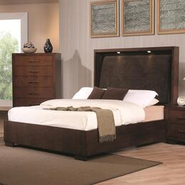 200720Q5P Jessica 5 Piece Bedroom Set in Light Cappuccino with Queen Platform Bed, Chest, Dresser, Mirror and Single Nightstand