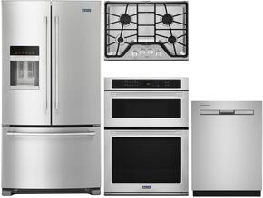 "4 Piece Kitchen Package With MGC7430DS 30"" Gas Cooktop, MMW9730FZ Electric Double Wall Oven, MFI2570FEZ 36"" French Door Refrigerator and MDB8959SFZ 24"" Built In Dishwasher In Stainless Steel"