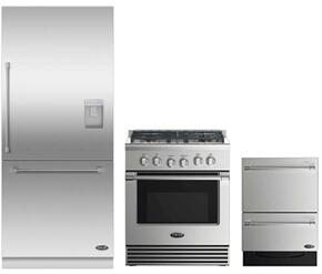"3 Piece Stainless Steel Kitchen Package With RDV2304N 3O"" Gas Freestanding Range, RS36W80RUC1 36"" Built In Refrigerator and DD24DV2T7 24"" Drawers Dishwasher"